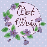 Best wishes lettering on floral card vintage Stock Images