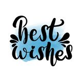 Best wishes lettering greeting card. vector illustration