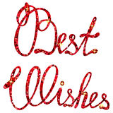 Best wishes lettering tinsels Royalty Free Stock Images