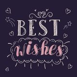 Best wishes lettering. Vector illustration. postcard printing clip art Stock Photography