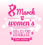 Best Wishes 8 March Womens Day Postcard with Eight. Made of flowers, pink text and bouquet of flowers isolated on blurred background vector illustration Stock Photography