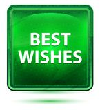 Best Wishes Neon Light Green Square Button vector illustration