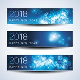 Set of Horizontal Christmas, New Year Banners - 2018. Best Wishes - Set of Three Abstract Sparkling Bright Colorful Bubbly Transparent Bokeh New Year`s Header Royalty Free Stock Images