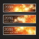 Set of Colorful Abstract Horizontal New Year Headers Banners for Year 2018 - Vector Design. Best Wishes - Set of Three Sparkling, Shimmering New Year`s Header Royalty Free Stock Photography