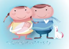 Best wishes to you and your baby. Our familly's new born baby Stock Illustration