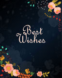 Best wishes vector card with flowers Stock Photography