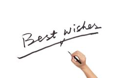 Best wishes. Words written on white paper royalty free stock images