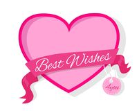Best Wishes for You Fame in Pink Colors Decorated. Best wishes for you frame in pink colors decorated by ribbon with text, gift photoframe in flat style with Royalty Free Stock Photos