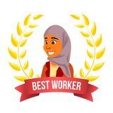 Best Worker Employee Vector. Arab Woman. Manager. Winning Trophy. Award Gold Wreath. Success Business Cartoon. Best Worker Employee Vector. Arab Woman. Manager vector illustration