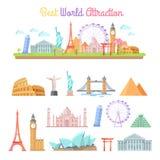 Best World Attractions Cartoon Illustrations Set Stock Photo