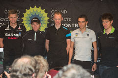 Best in the world taking part in elite press conference at GPCQM. QUEBEC, CANADA, SEPTEMBER 11 2013 - Ryder HESJEDAL, Cadel EVANS, Christopher FROOME and Peter Royalty Free Stock Photography