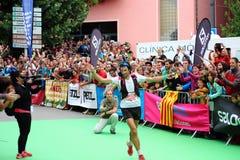 Best worldwide trail runner, Mr. Kilian Jornet, celebrates his first position on the final race of the Sky Runner World Series. Baga village, Spain - September stock photo