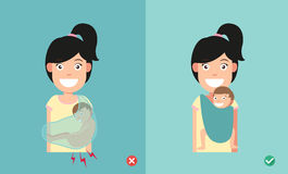 Best and worst positions child for prevention of hip dysplasia stock illustration
