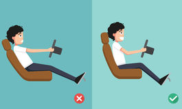 Best and worst positions for driving a car vector illustration
