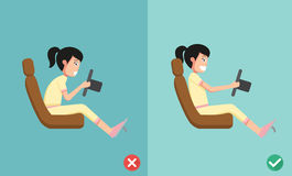 Best and worst positions for driving a car Royalty Free Stock Image