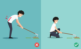 Best and worst positions for the hoe to dig ground and plant a t. Ree, illustration, vector Stock Photography