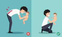 Best and worst positions for holding little baby Royalty Free Stock Image