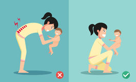 Best and worst positions for holding little baby. Illustration, vector Stock Images