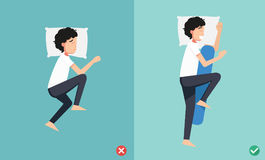 Best and worst positions for sleeping, illustration vector illustration