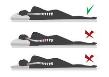 Best and worst positions for sleeping pregnant women, illustration royalty free illustration