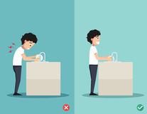 Best and worst positions for standing, illustration, Stock Images