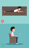 Best and worst positions for use laptop Royalty Free Stock Photos