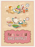 Best For You Breakfast vintage poster design Stock Photos