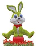 Bestandenes Kaninchen mit Blume stieg Lizenzfreie Stockbilder