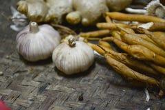 Bestandteil-thailändisches Lebensmittel auf Webart-Hintergrund 9 Lizenzfreies Stockbild