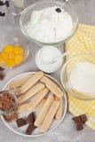 Bestandteile des traditionellen italienischen Nachtisch Tiramisu Kochen des Blog- und Klassenkonzeptes Stockfoto