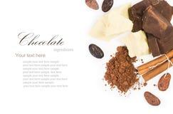 Bestandteile für Ñ-, das selbst gemachte Schokolade ooking ist Stockbilder