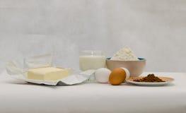 Bestandteile für backende Muffins Stockbild