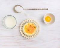 Bestandteile für Creme brulee: Milch, Creme, Eigelb, Zucker lizenzfreies stockfoto