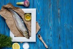 Bestandteile für das Kochen der Fische Stockbild