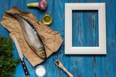 Bestandteile für das Kochen der Fische Stockfoto