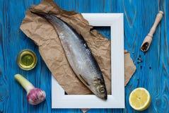 Bestandteile für das Kochen der Fische Stockfotografie