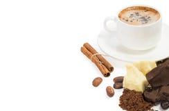 Bestandteile für das Kochen der selbst gemachten Schokolade Stockfoto