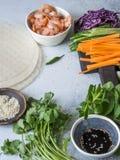 Bestandteile für das Kochen von Frühlingsrollen - Karotten, Gurken, Kräuter, Rotkohl, Garnelen, Reispapier auf einem grauen Hinte lizenzfreie stockbilder