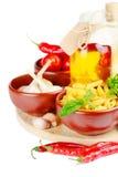 Bestandteile für das Kochen von Teigwaren Stockfotos