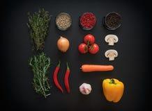 Bestandteile für die geschmackvolle Salatherstellung: Kopfsalatblätter, -champignons, -tomaten, -kräuter und -gewürze auf dunklem stockfoto