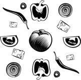 Bestandteile für Gemüsepizza Stockfotos