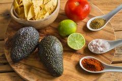 Bestandteile für Guacamolen tauchen mit Avocadokalktomate und -gewürzen ein Lizenzfreie Stockbilder