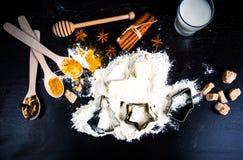 Bestandteile für Lebkuchen lizenzfreie stockfotos