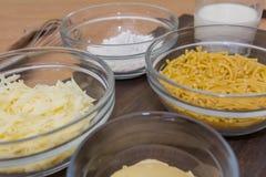 Bestandteile für Makkaroni-Käse Stockfotografie