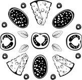 Bestandteile für Pizza mit Salami Stockbilder