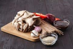 Bestandteile für Rindfleisch und Nudeln mit Austernsoße stockfotos