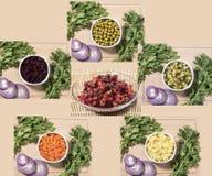 Bestandteile für Rote-Bete-Wurzeln Salat Stockfotos