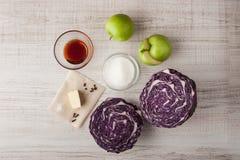Bestandteile für Salat mit Rotkohl und Apfel Lizenzfreies Stockfoto