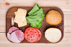 Bestandteile für Sandwich Nahrung Neues u. gesundes Lebensmittel Konzept Lizenzfreie Stockfotografie