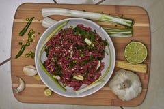 Bestandteile für thailändischen Rindfleischteller mit Gemüse stockfotografie